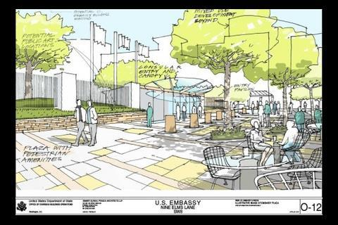 US embassy plans showing pedestrian area